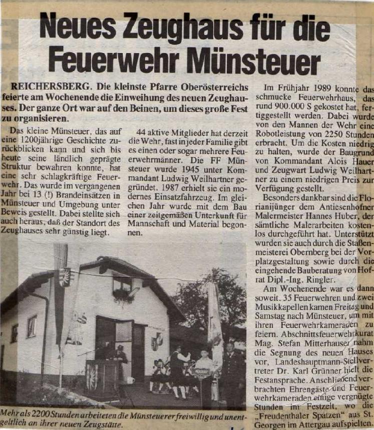Zeitungsartikel 1989